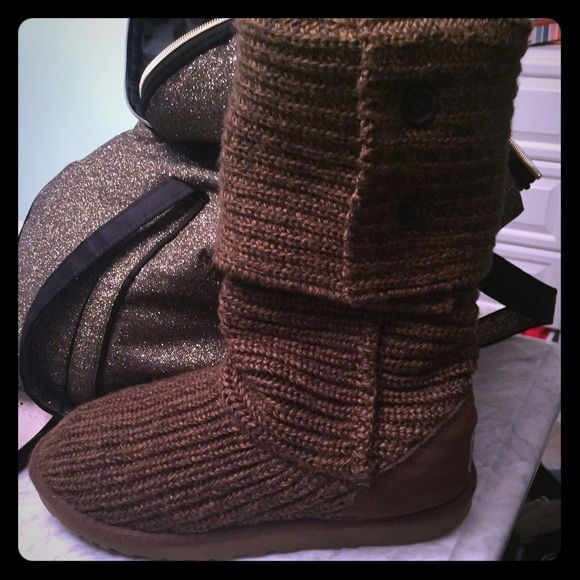 Ugg classic cardy Boots The are in great used condition. You can see any wear in the last two pictures. Wool insides are in great condition. Can be worn up or folded over (see photos) color is brown. UGG Shoes Winter & Rain Boots