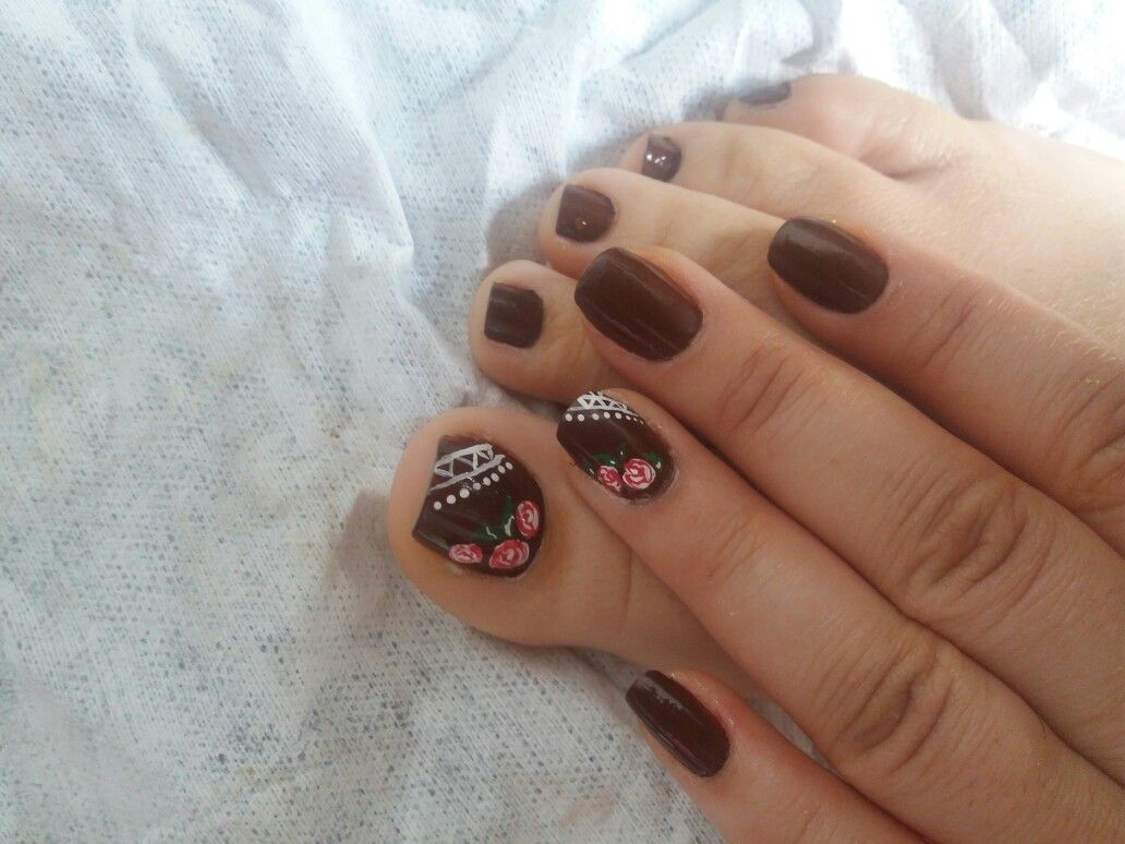 Pin by Kattya Fernández on Uñas | Pinterest | Pedicures and Brown nail