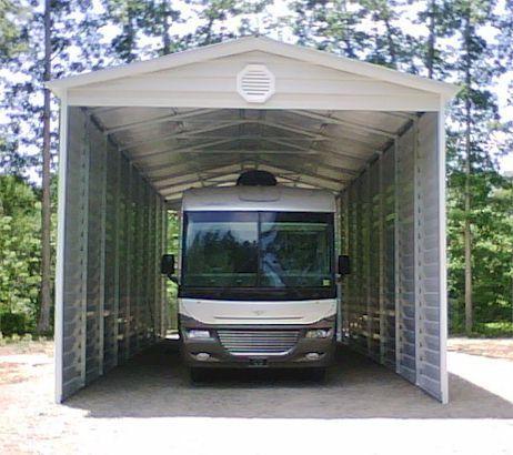Bradley mighty steel rv garage for sale rv shelter for Metal rv garage