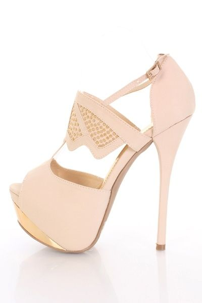 Beige Gold Faux Leather Studded T Strap Foil Platform Heels ...