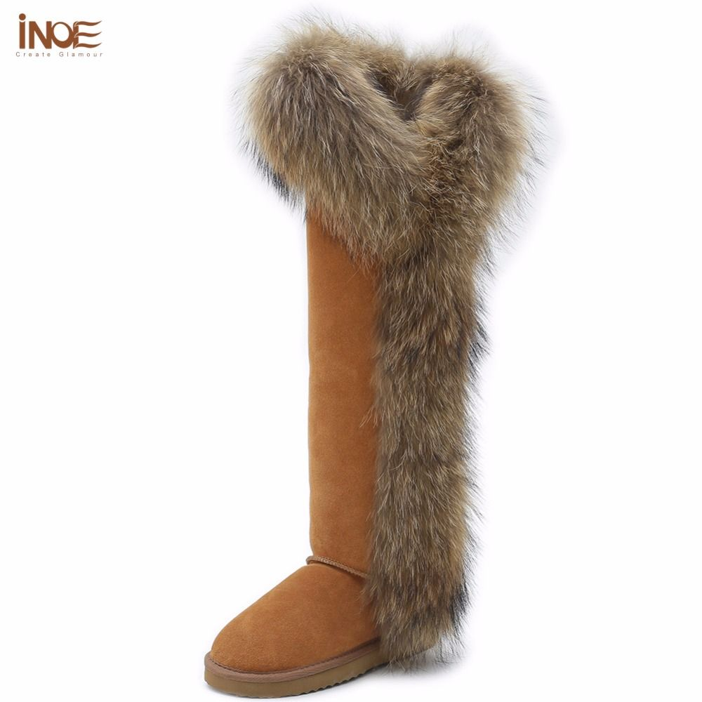 INOE Fashion Style big girls fox fur tall thigh winter snow boots for women  winter shoes real leather lady long boots for party-in Women s Boots from  Shoes ... 3e18ab5aed