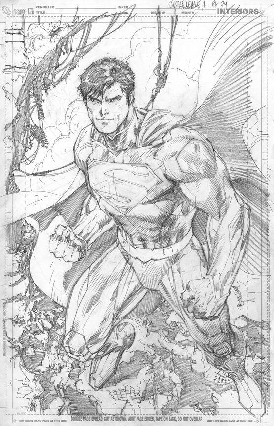 Bear1na Jim Lee Art Superman Art Superhero Art Start off with a pencil sketch. bear1na jim lee art superman art