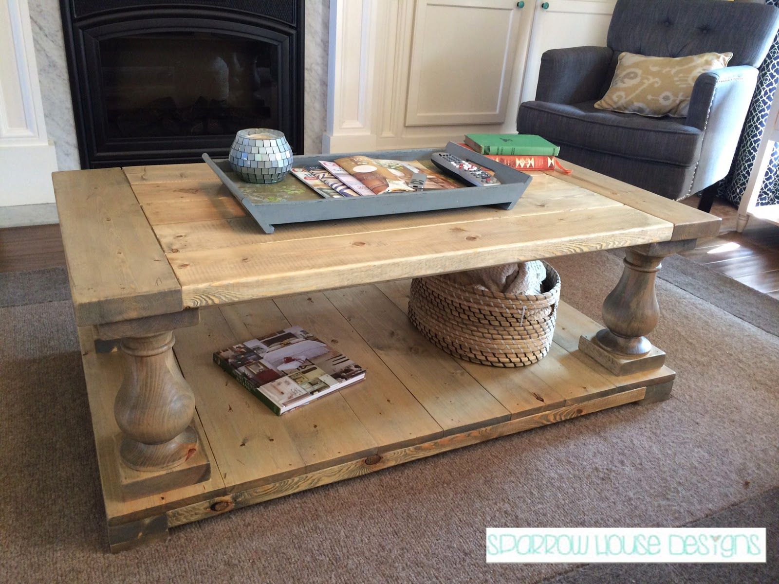Sparrow House Designs Turned Leg Coffee Table