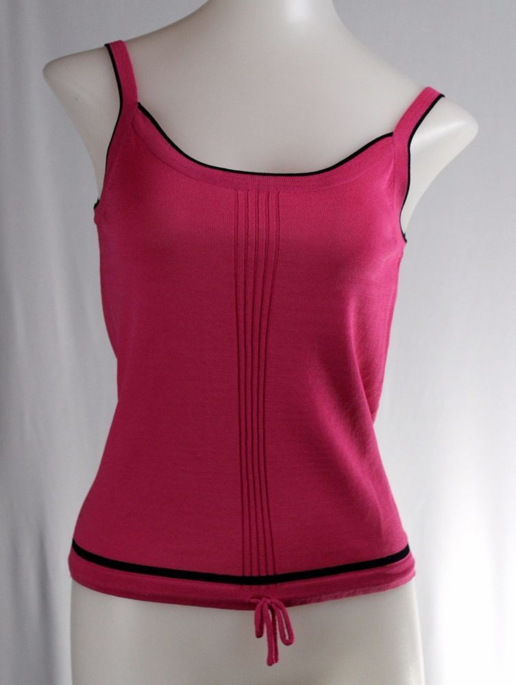 UNBRANDED Petite Small Hot Pink Black Sleeveless Thin Sweater #Unbranded #VestSleeveless