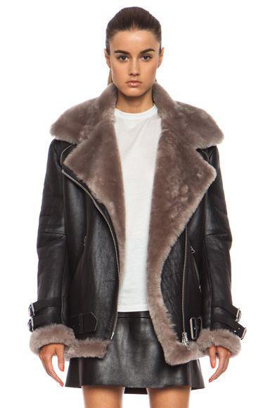 Zara knocks off Acne Studios Velocite oversized shearling-lined biker jacket  - LaiaMagazine