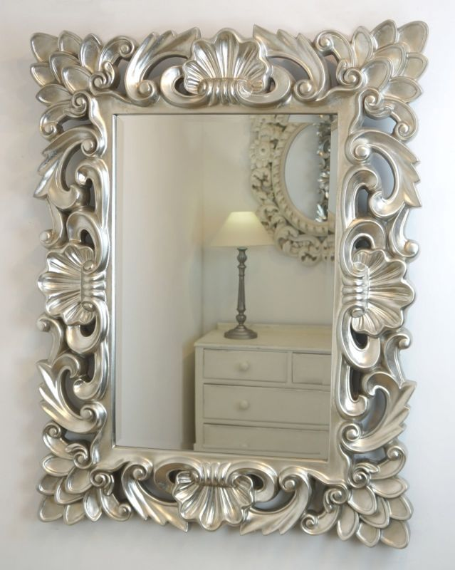 large silver wall mirror diamond crushed wall baroque silver vintage rectangle ornate wall mirror 42