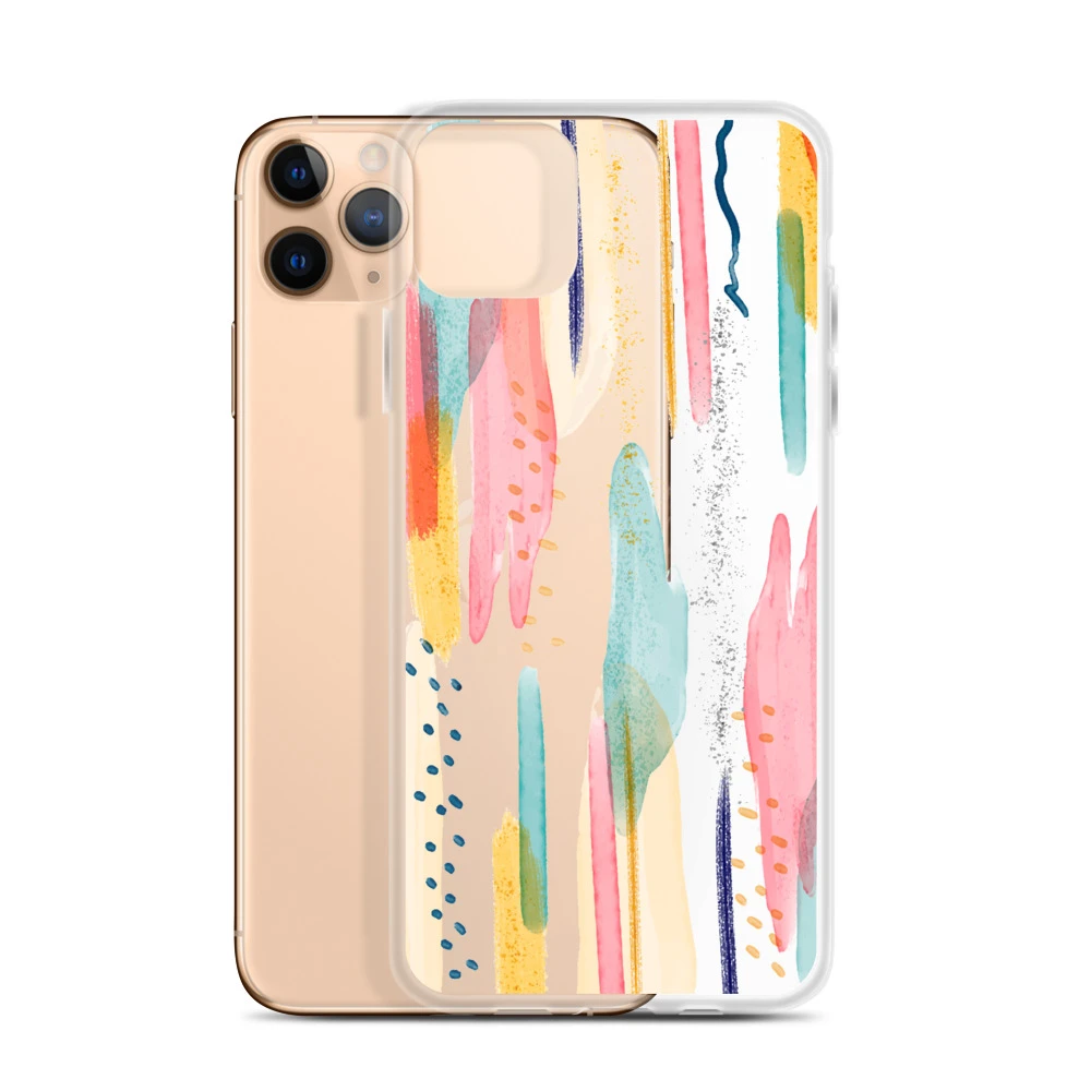 Modern Abstract Art Iphone 11 Pro Max Clear Phone Case Brush Strokes Design Cover For Iphone 6 6s 7 8 Plus X 10 Xr Xs Max Abstract Phone Case Stylish Iphone Cases Clear Iphone Case