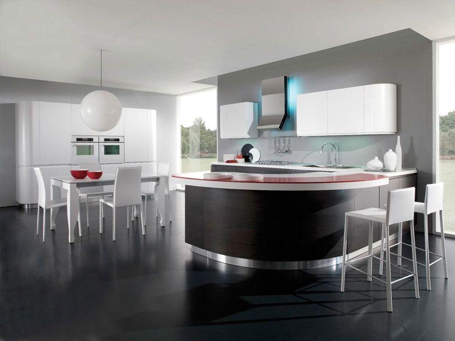 50 foto di cucine moderne con penisola cucina moderna - Cucina con penisola rotonda ...