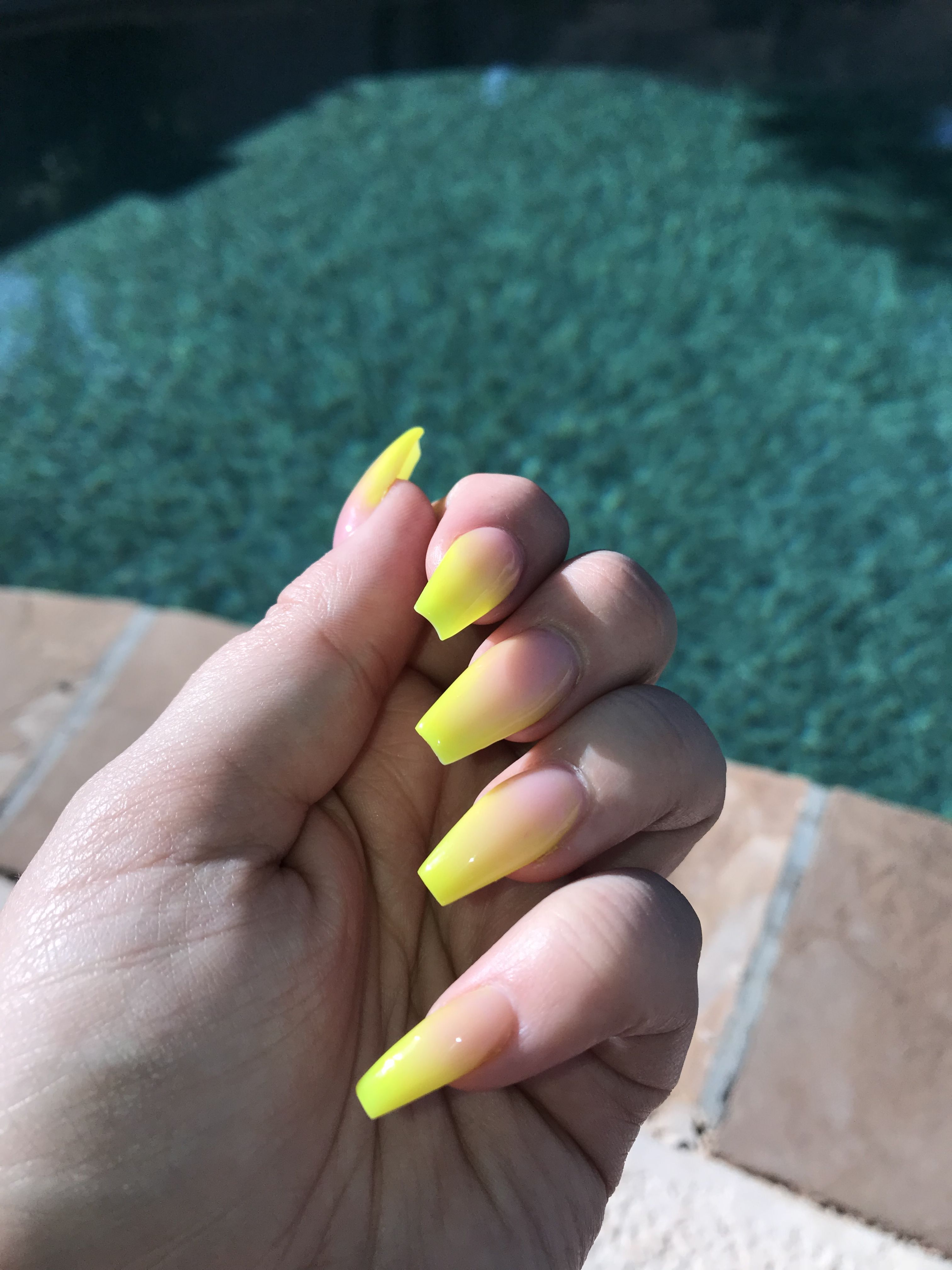 Neon Yellow Ombre Nails Neon Yellow Nails Ombre Acrylic Nails Yellow Nails