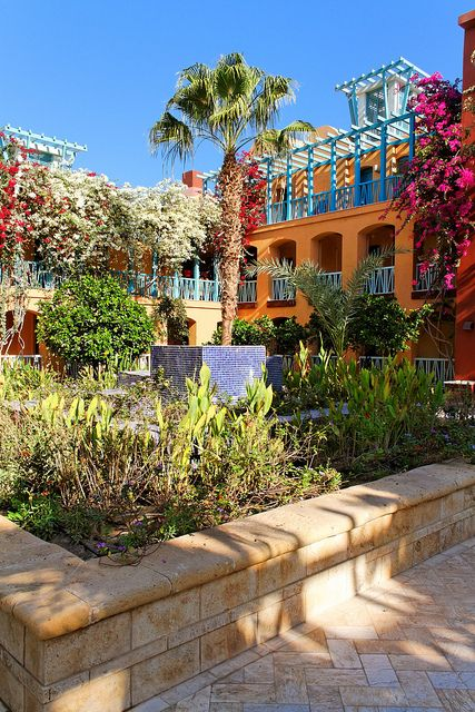 Egypt Colorful Courtyard At Sheraton Hotel In El Gouna Life In Egypt Places In Egypt Cairo Egypt