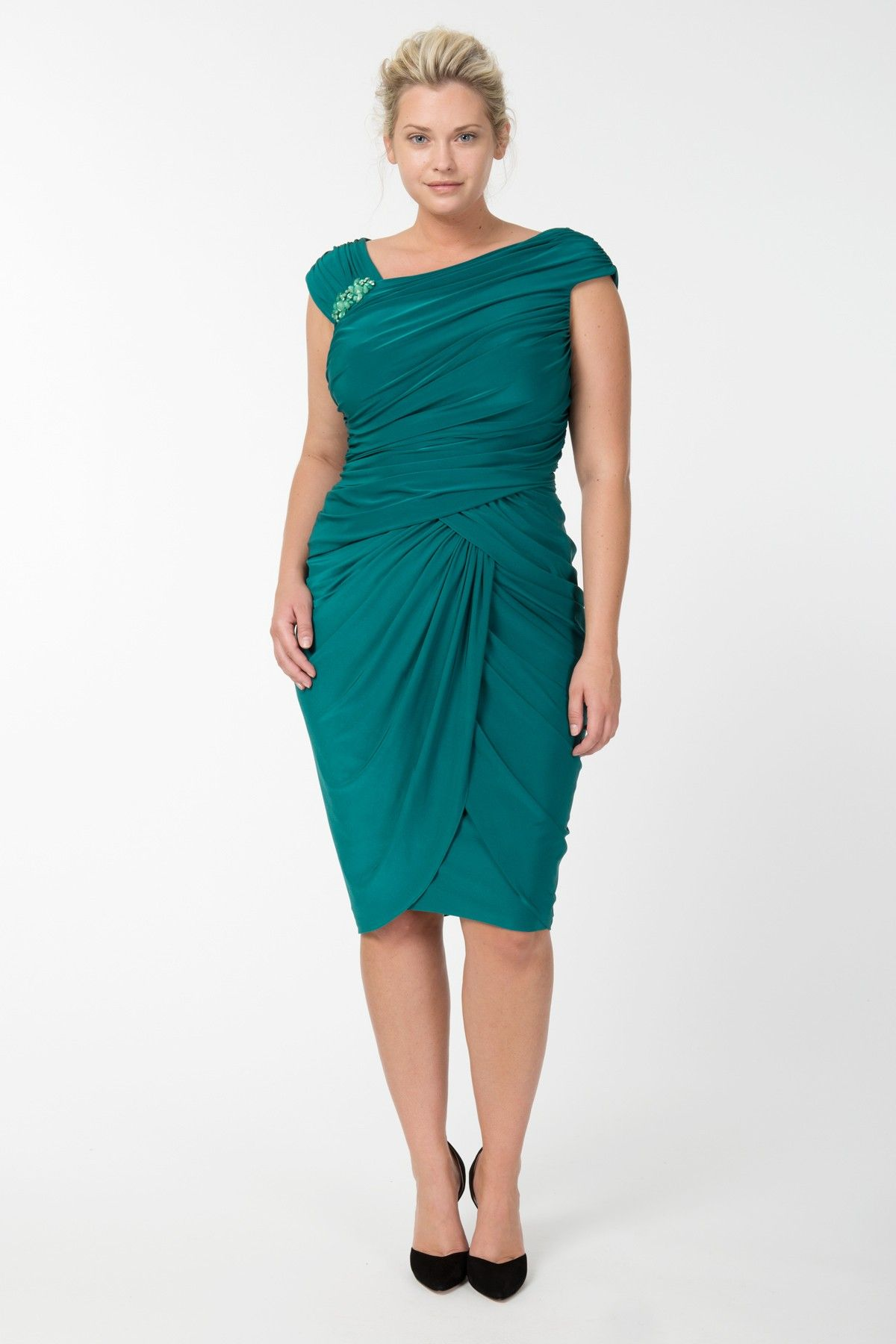 Draped Jersey Cocktail Dress in Emerald - Plus Size Evening Shop ...