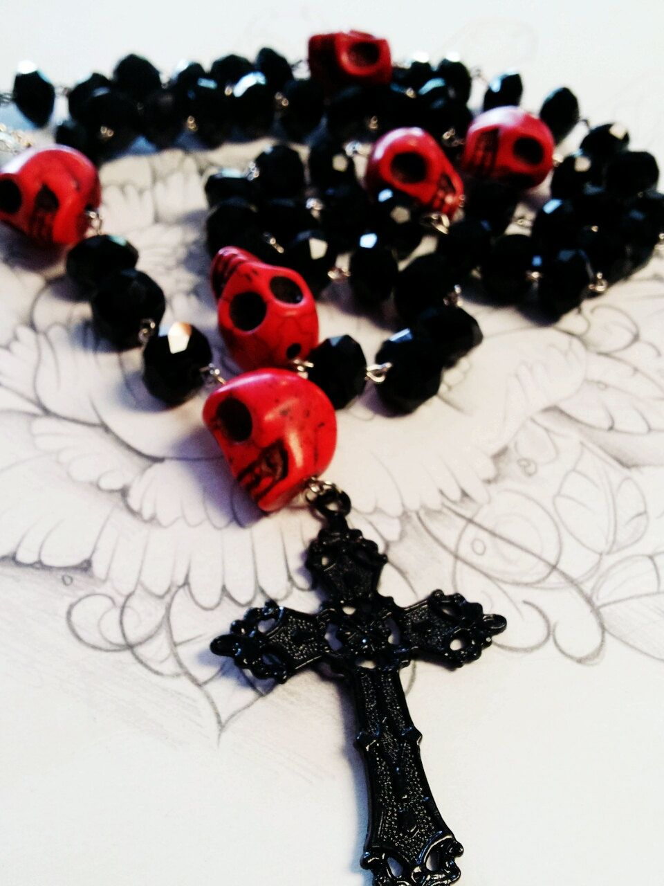 Day of the Dead Rosary Bead Necklace /& Bracelet Jewellery Fancy Dress Halloween