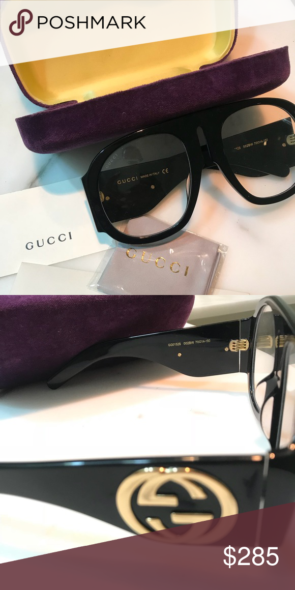 46267835bdf Gucci Acetate sunglasses -Style   482358 J0740 1101 -Black frame -Oversized  Aviator shape -Temples with metal interlocking Gs -Comes with a protective  case