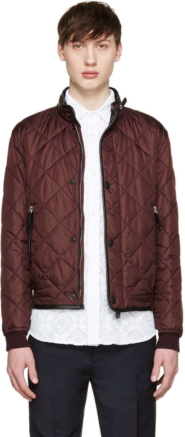 Burberry Prorsum Burgundy Quilted Bomber Jacket Quilted Bomber Jacket Jackets Bomber Jacket [ 1412 x 600 Pixel ]