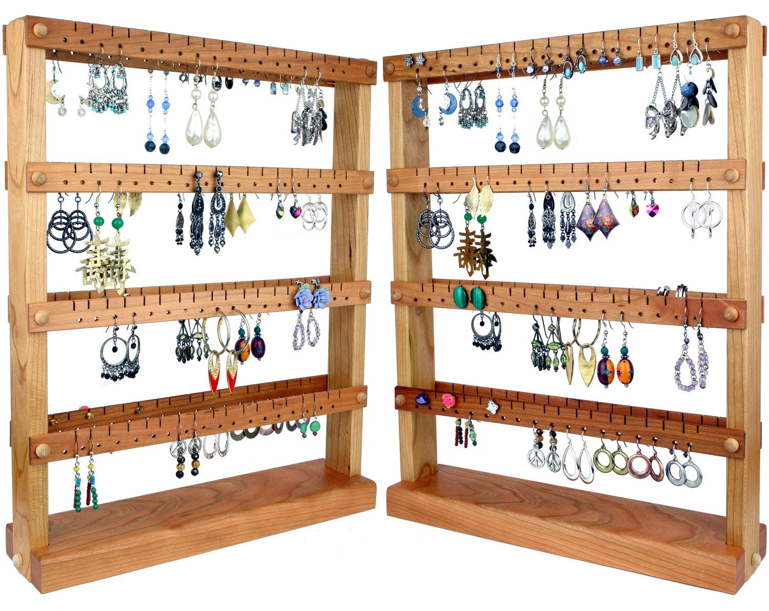 Earring Holder Stand Display Cherry Wood Double Sided Holds Up To 144 Pairs Jewelry Organizer