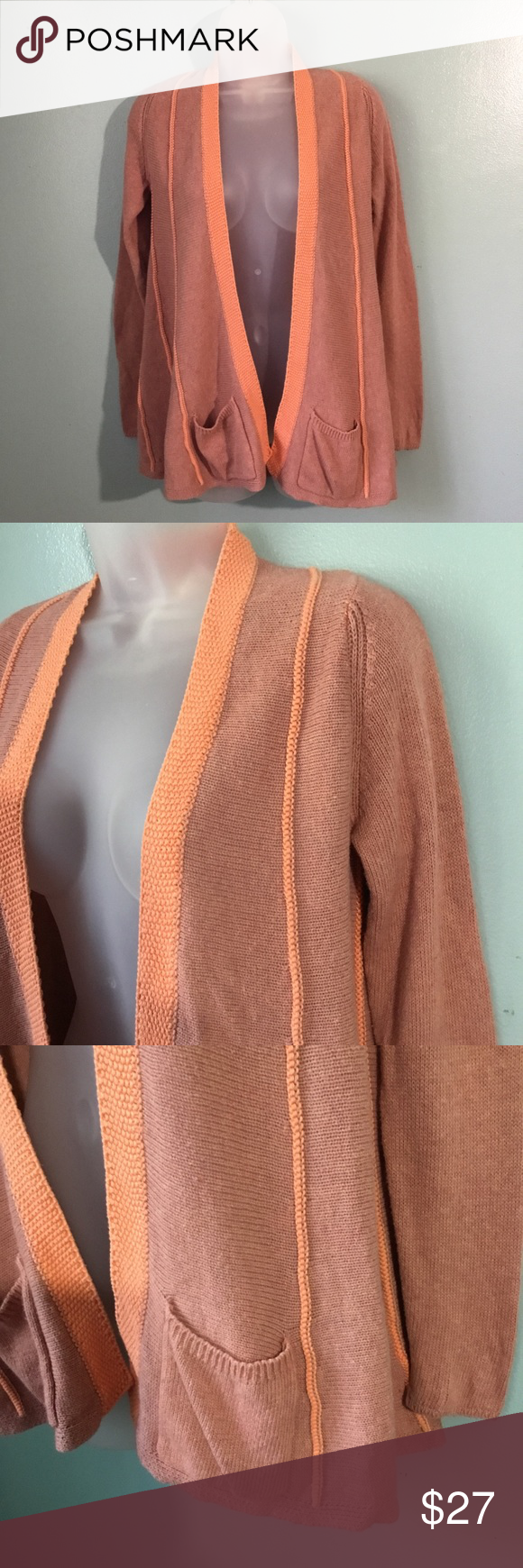 f1bc9dd0e8d Anthropologie Angel of the North cardigan Dusty rose with light peach trim