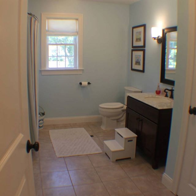 Our blue brown 2nd bathroom | Brown bathroom decor, Blue ...