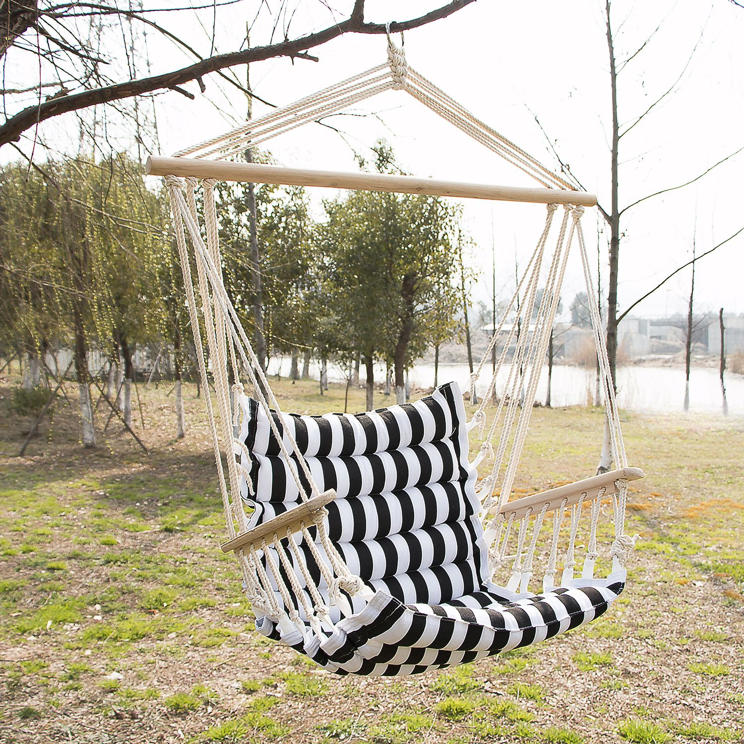 Patio Padded Cotton Hammock Hanging Rope Chair Indoor