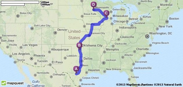 Driving Directions from San Antonio Texas to Minneapolis