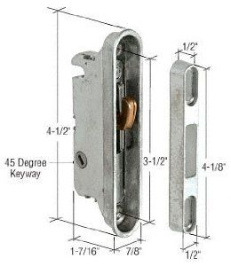 C R Laurence E2487 Crl 7 8 Wide Mortise Lock And Keeper With 3 1 2 Screw Holes With 45 Degree Keyway By C R L Glass Door Lock Glass Door Sliding Glass Door