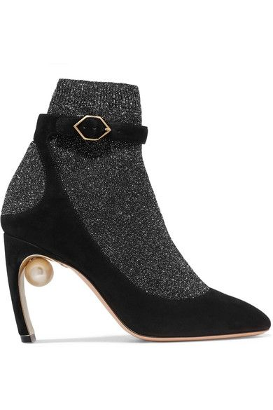 dd5a8dfbcdcf NICHOLAS KIRKWOOD Sock Shoe Heel measures approximately 90mm  3 .5 inches  Gunmetal stretch-knit