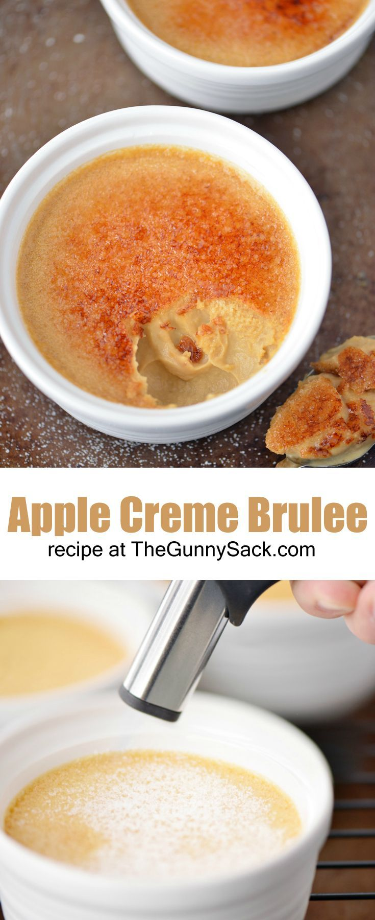 Smooth, creamy Apple Creme Brulee recipe with a crunchy, caramelized topping! This is an EASY, yet impressive dessert to serve dinner guests!