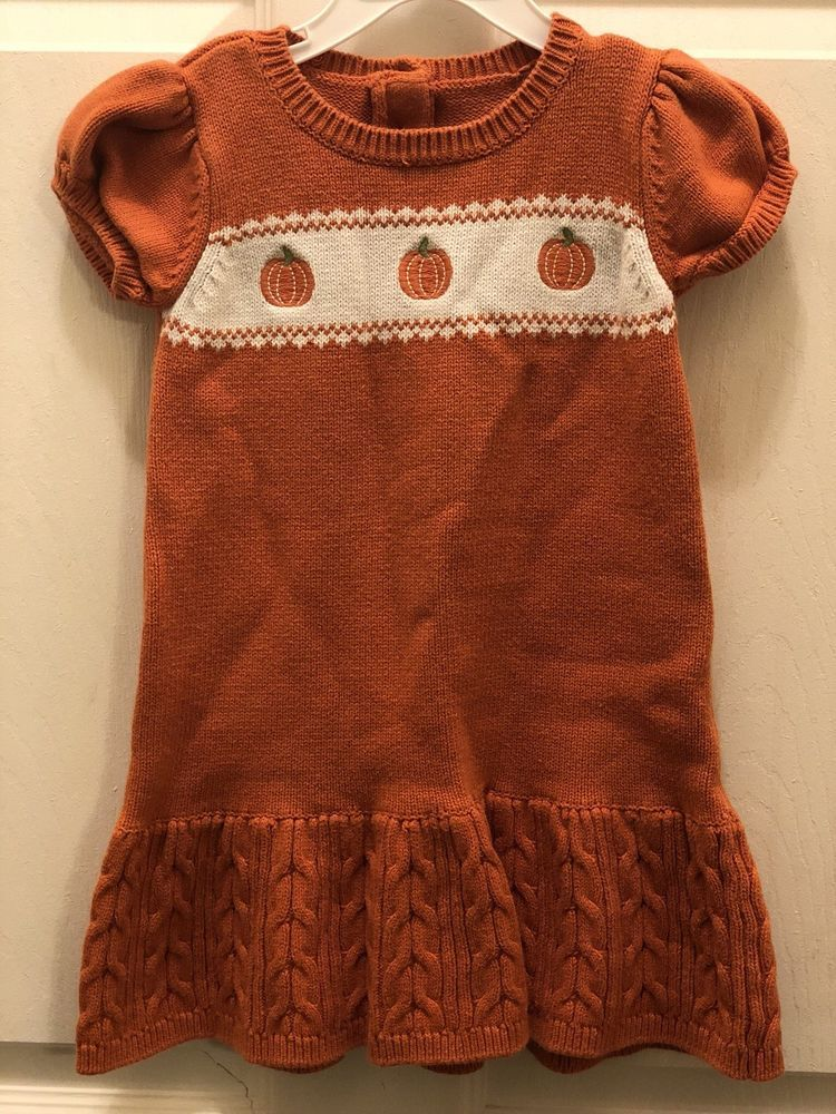 46ffdba5b4c Gymboree Pumpkin Sweater Dress 3T Orange Halloween Fall Short Sleeve Cotton  Girl  fashion  clothing  shoes  accessories  babytoddlerclothing ...