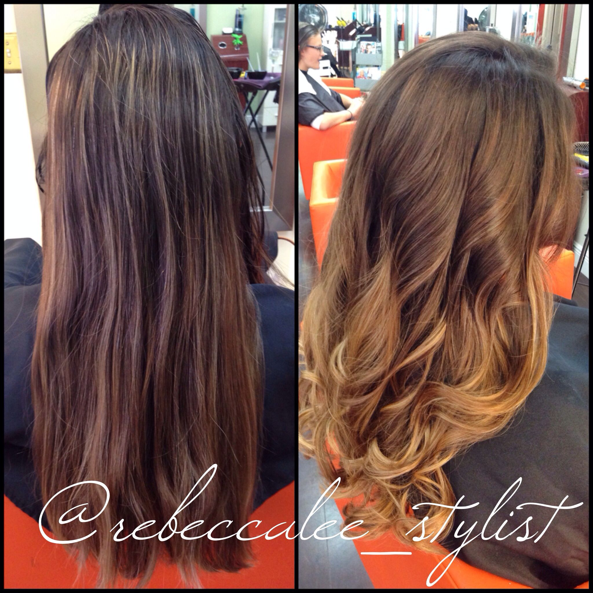 Before and after balayage highlights, haircut, and style by Becca. Studio  Chroma Inc