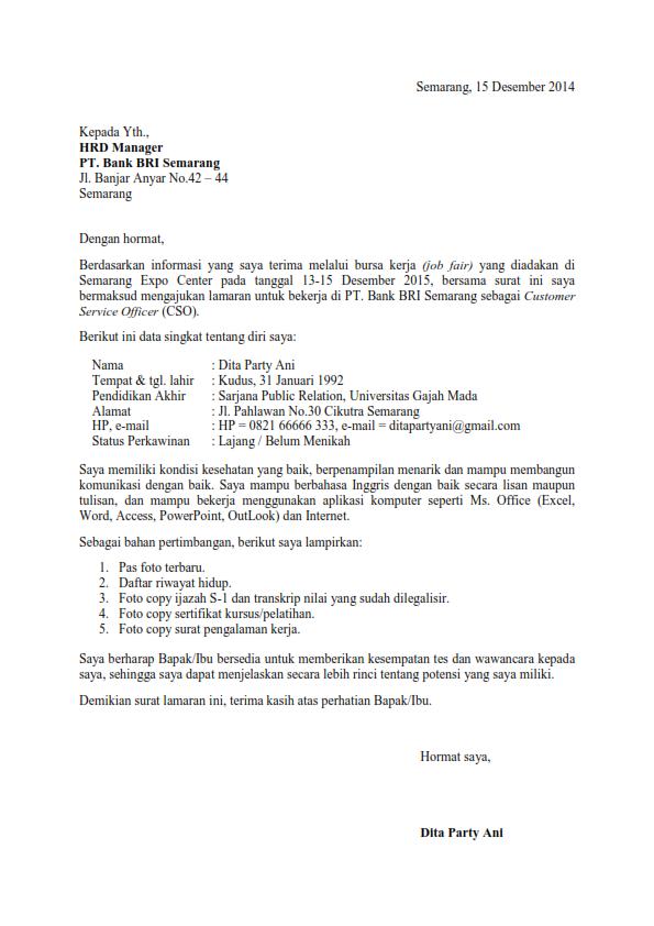 Surat Lamaran Kerja Untuk Bank Cv Kreatif Surat Kepala Sekolah