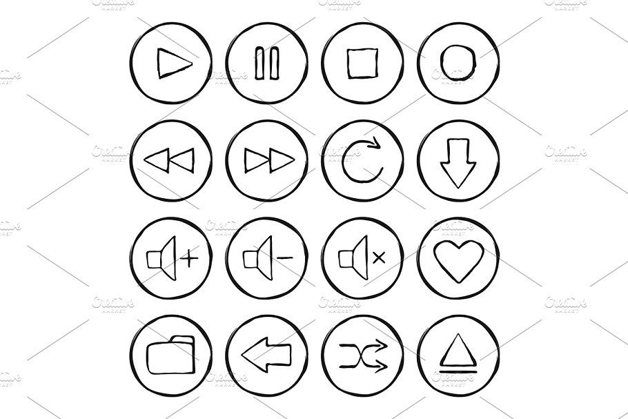 Multimedia 16 Icons Vector Tattoo Outline Icon Sketch Icon