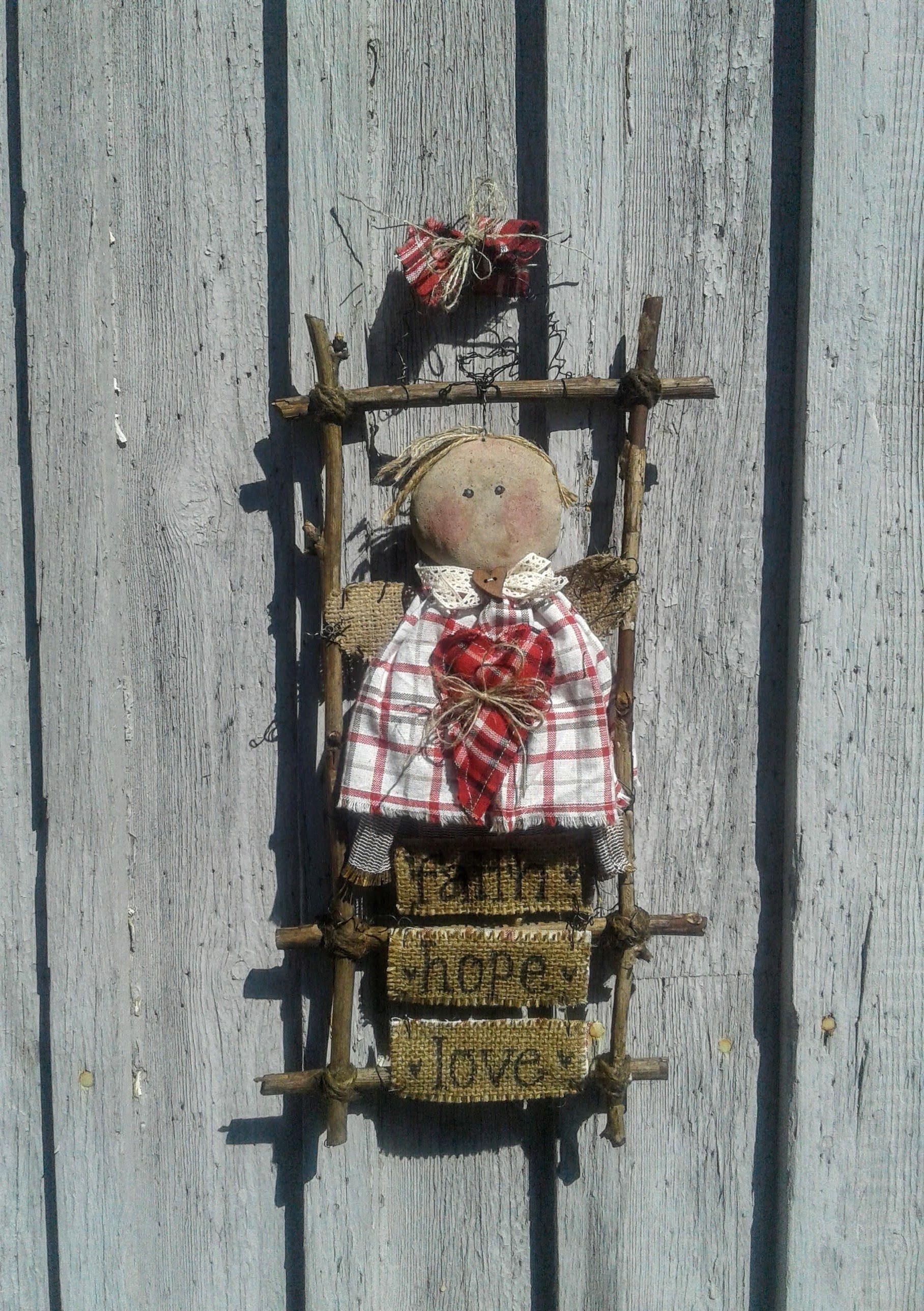 Primitive Angel - Primitive Door Decor - Front Door Decor - Faith Hope Love - Primitive Hanger - Primitive Decor - Primitive Doll - Wreath & Primitive Angel - Primitive Door Decor - Front Door Decor - Faith ...