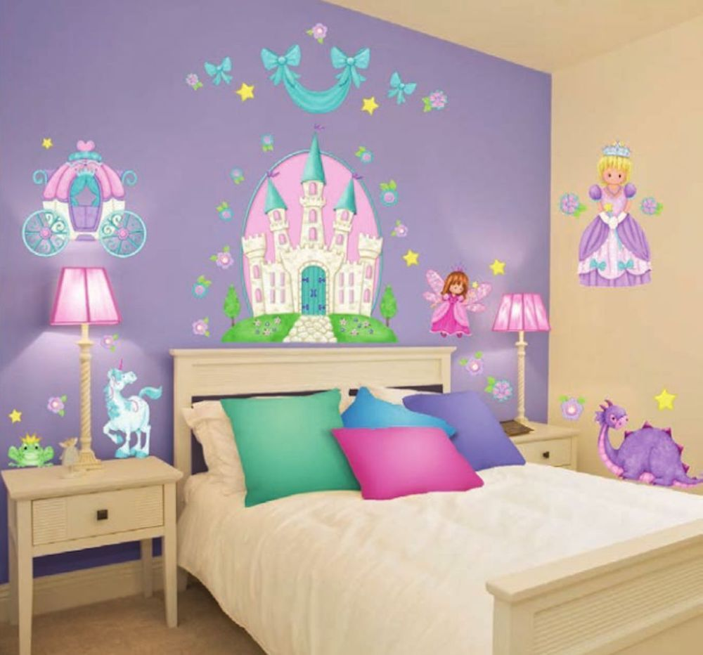 Giant Princess Wall Decals 37 Castle Carriage Fairy Unicorn
