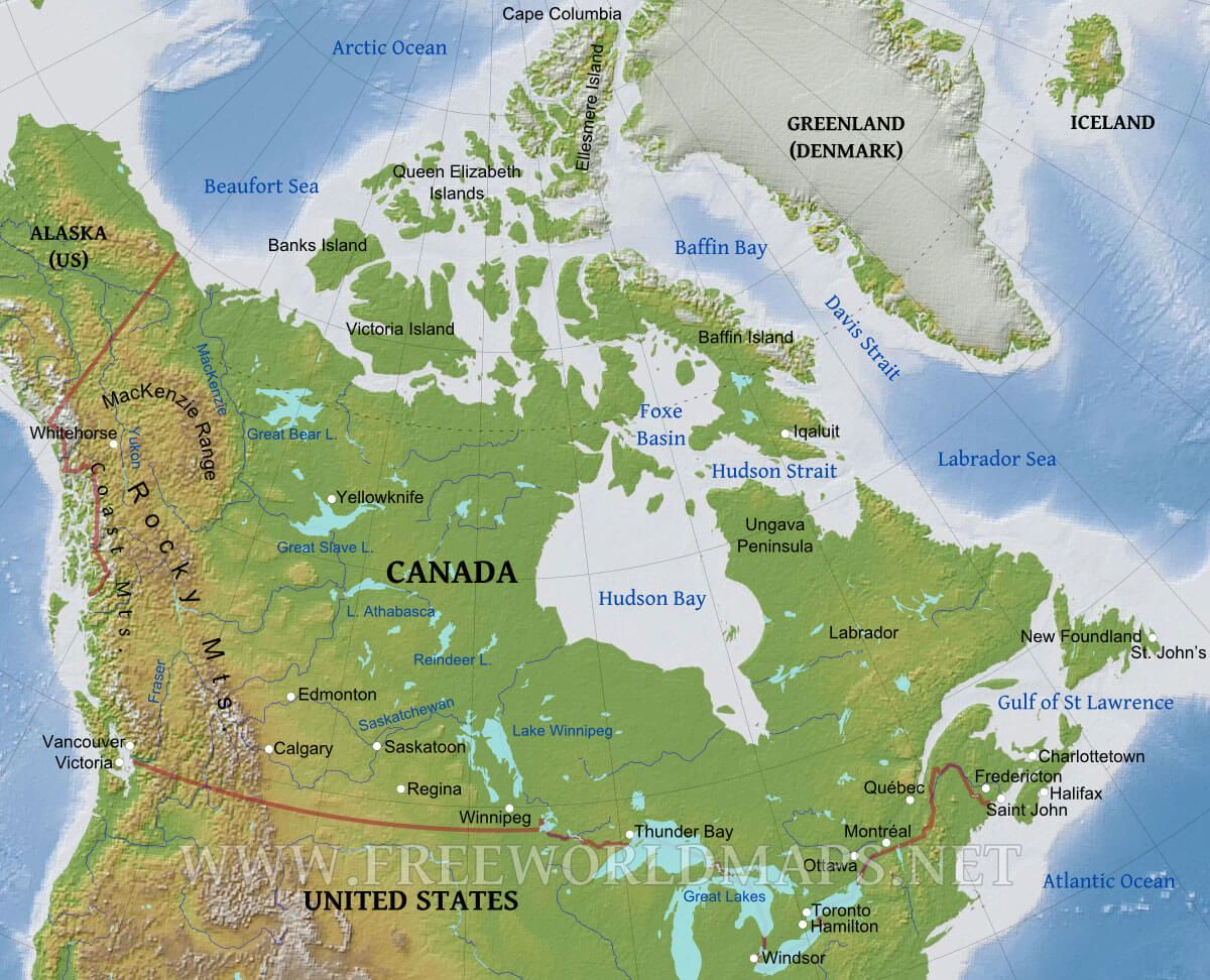 Physical Map Of Canada And Us Physical map of Canada, Lambert Gauss conformal conical projection
