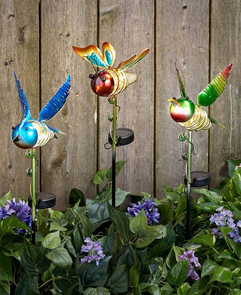 Butterfly lawn ornaments - Details About Solar Butterfly Bird Or Hummingbird Stake Metalic Colorful Garden Decor Glimmer