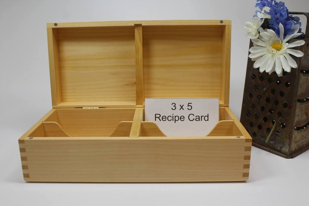 Recipe Box 3 x 5 cards - Double Row made of Port Orford ...