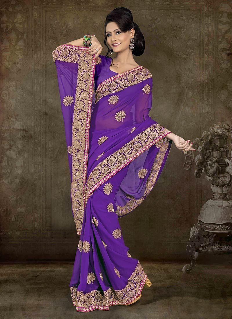Amazing Resham Enhanced Chiffon Saree   saree   Pinterest