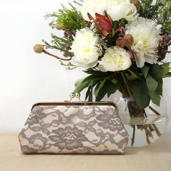 Bridal Peony Lace Clutch in Champagne Taupe Stone Mother of