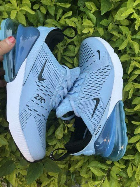 Womens Winter Nike Air Max 270 Casual Sneakers Sky Blue White
