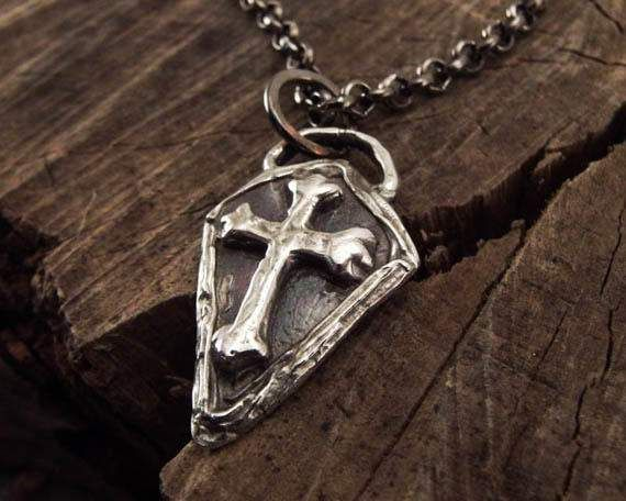 Pure Silver Cross Necklace Mens