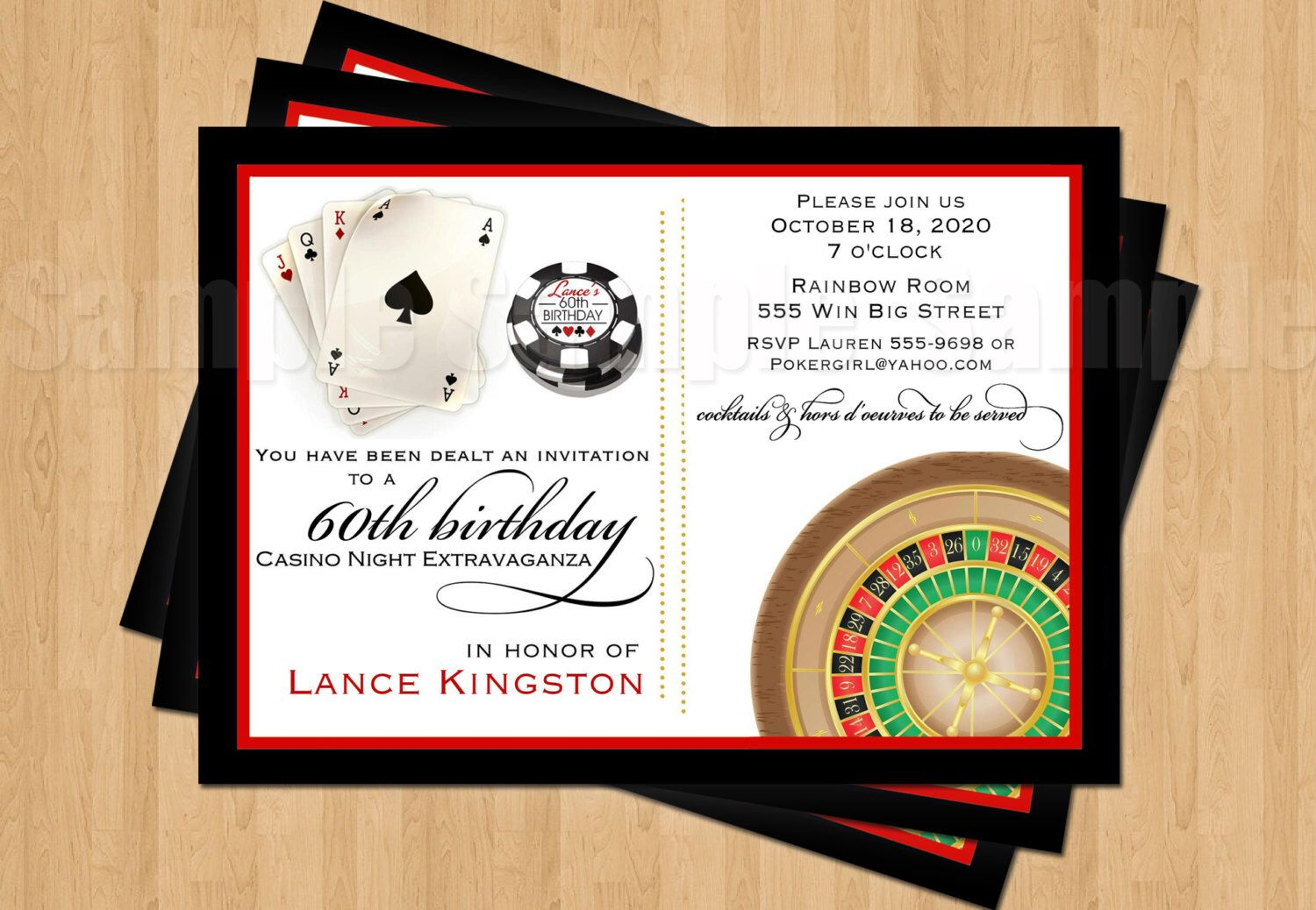 Las Vegas Poker Chips Roulette Birthday Bachelor Party Personalized Invitation JPEG by my3sweetcheeks on Etsy https://www.etsy.com/listing/198193580/las-vegas-poker-chips-roulette-birthday
