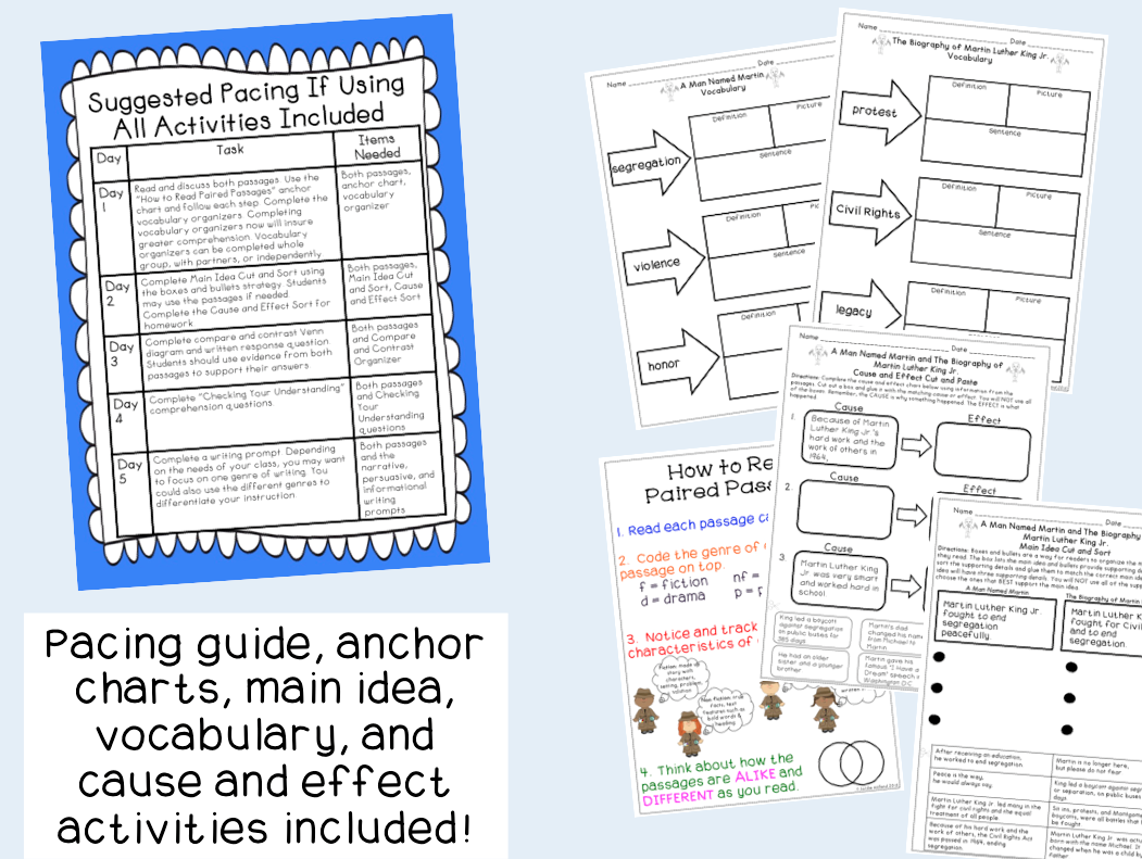 Martin Luther King Jr Reading Comprehension Paired