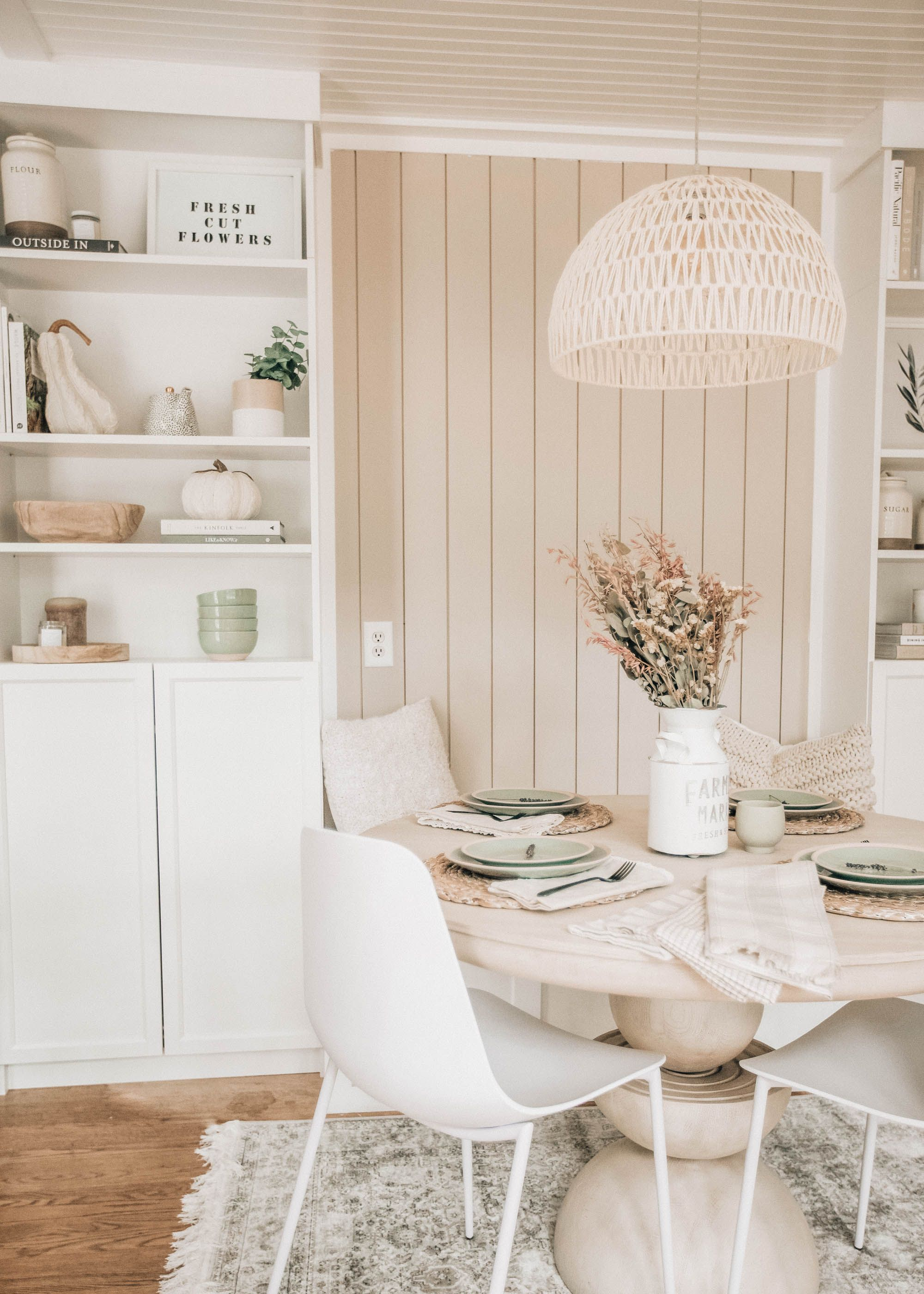 Small Dining Area Decor Finds Pretty In The Pines North Carolina Lifestyle And Fashion Blog Dining Area Decor Round Kitchen Table Trendy Farmhouse Kitchen