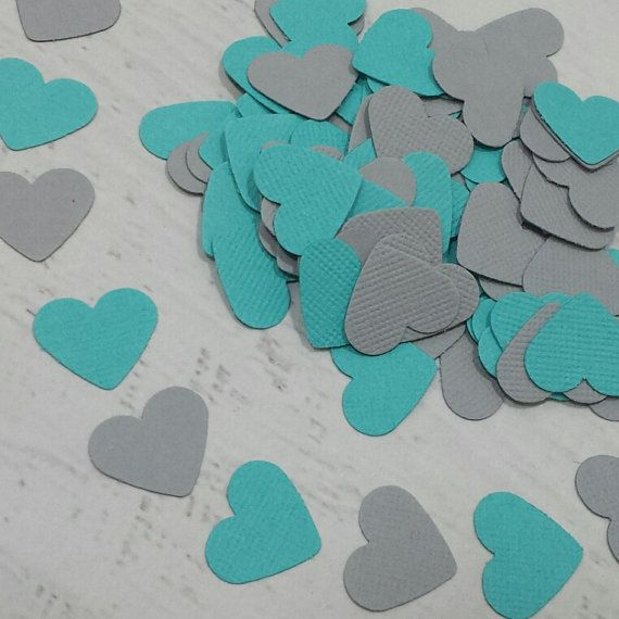 Turquoise And Grey Confetti Hearts