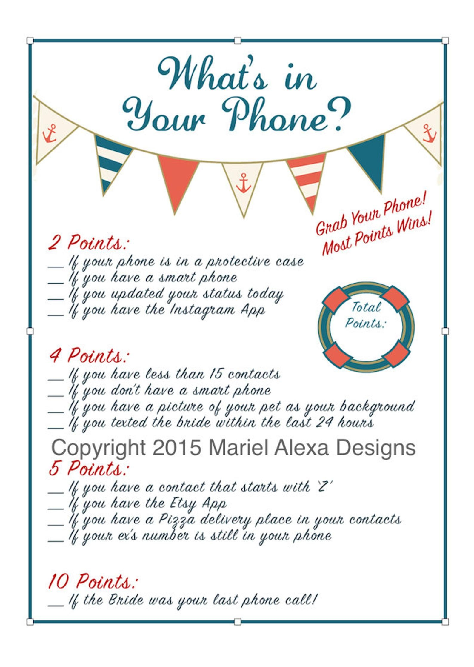Cell Phone Game Bridal Shower Game Nautical Theme