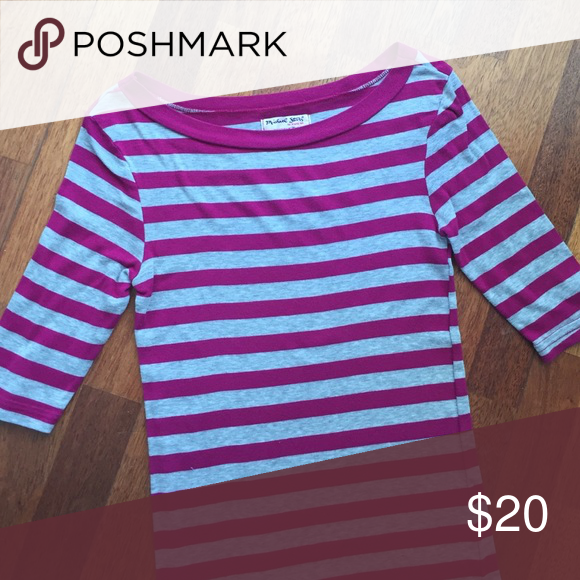 """Michael Stars striped boat neck tee Great Michael Stars soft tee.  24"""" shoulder to hem. OS but best for a small/XS.  3/4 length sleeves. Michael Stars Tops Tees - Long Sleeve"""