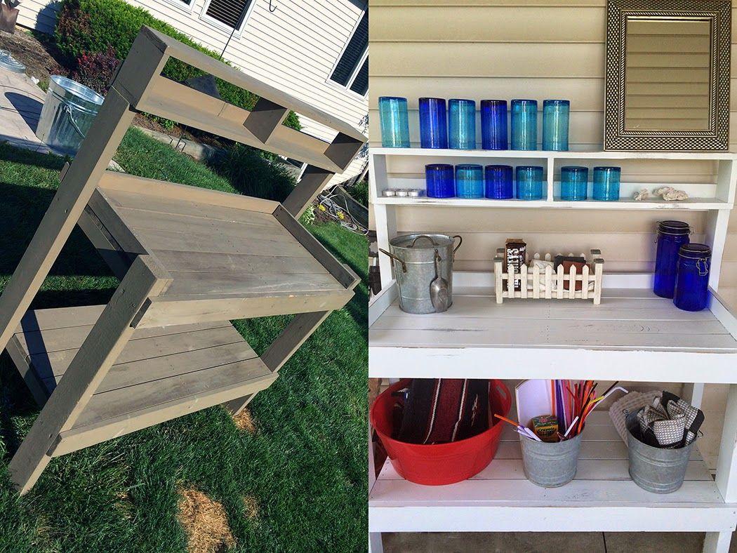 garden bench into patio beverage / snack station.