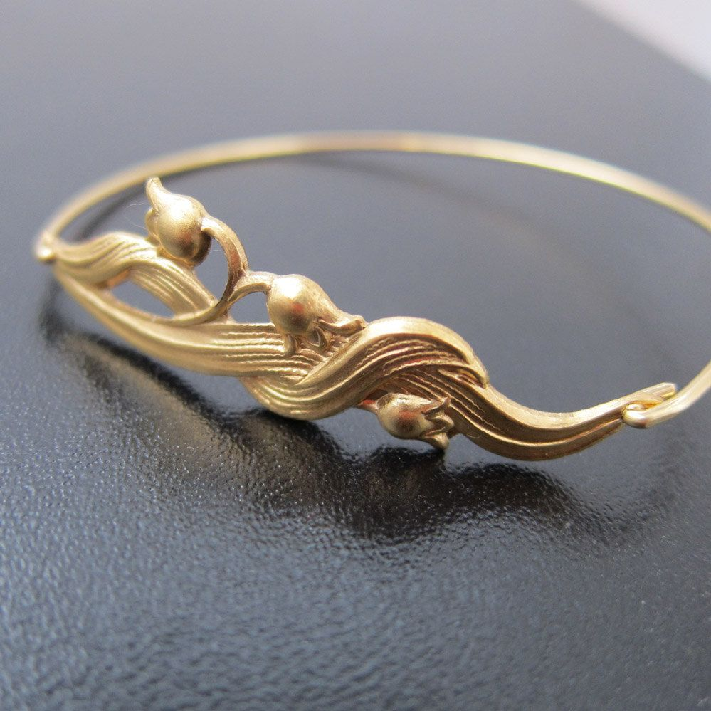 Gold lily of the valley bangle bracelet lily of the valley