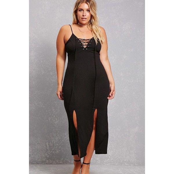 0055c0f38d6 Forever21 Plus Size Lace-Up Maxi Dress ( 38) ❤ liked on Polyvore featuring plus  size women s fashion