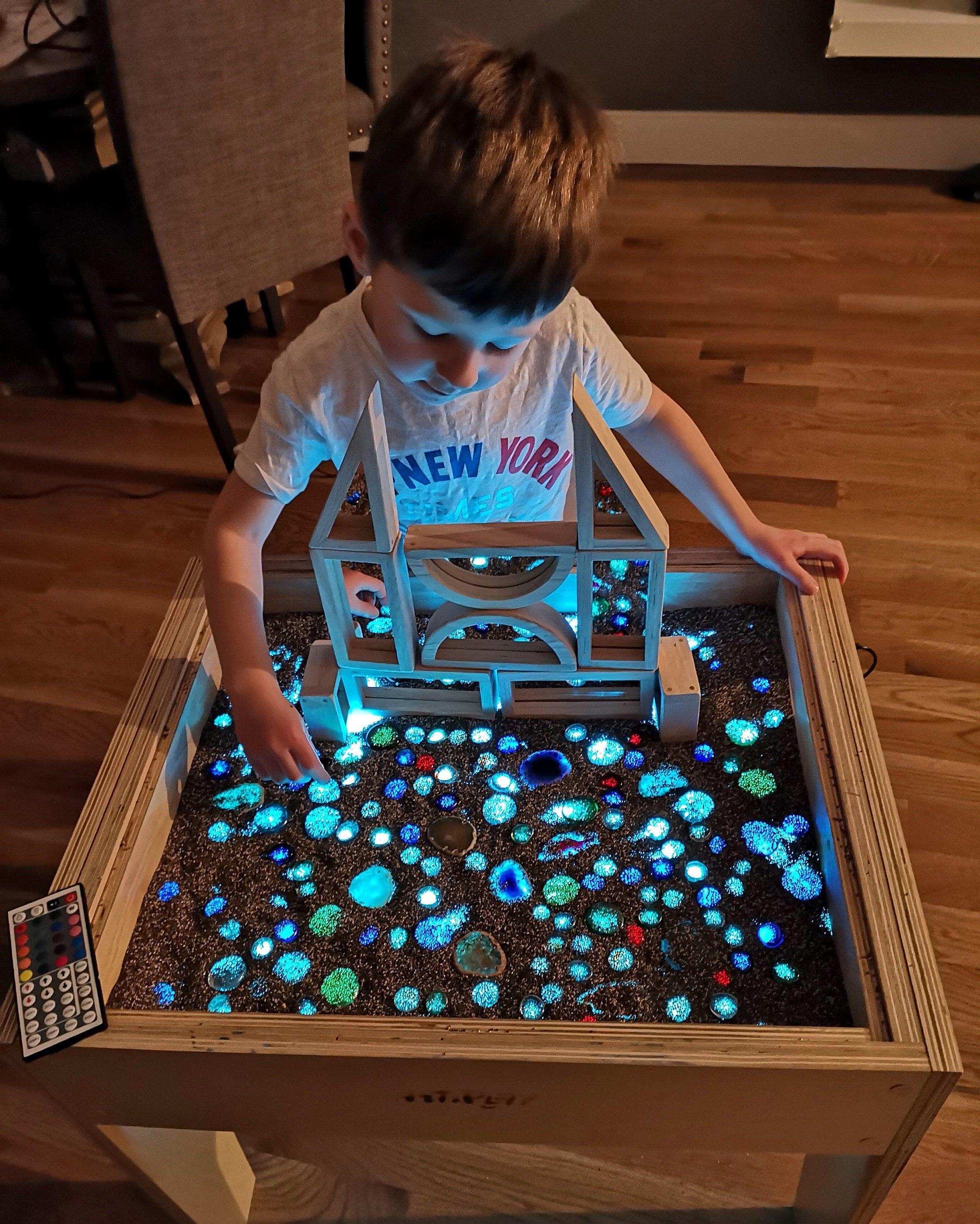 Art light activity wood table desk for kids montessori