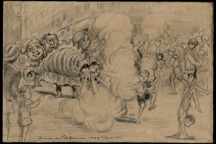 Dibuix del drac de Vilafranca del Penedès. Pau Febrés Yll. 1889